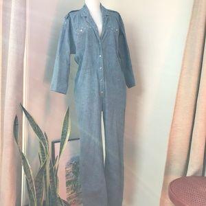 Vintage Chambray Button Front Romper Jumpsuit